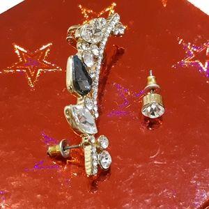 Gold Embellished Ear Climber & Stud